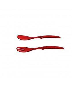 2'Li Kırmızı Çatal Kaşık Seti