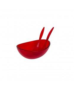 EWs Akrilik Kırmızı Kaşıklı Salata Kasesi