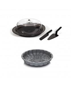 EWs Siyah Kek Servis seti  + 26 cm Ayçiçeği  Desenli Kek Kalıbı