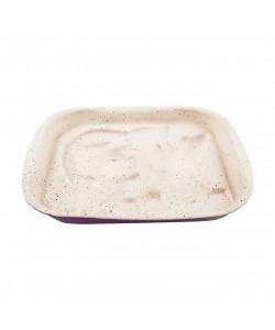 Mor Krem Köşeli Granit Kek Kalıbı