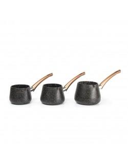 EWs Siyah Renk 3 Parça Cezve Seti