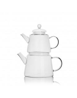 EWs Cam Çaydanlık Seti 800/1200 ML Şeffaf Saplı