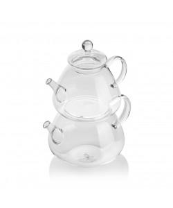 EWs Cam Çaydanlık Seti 800/1500 ML Şeffaf Saplı