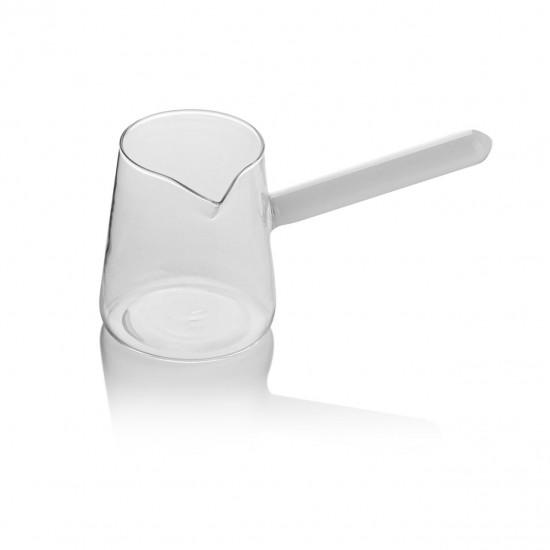 EWS Cam Cezve 400 ML Renkli Sap Beyaz