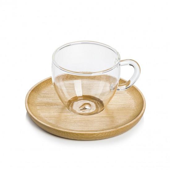 EWs Bambu Tabaklı Cam Kahve Fincanı Seti