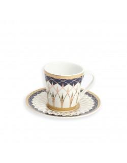 6'Lı Porselen Desenli Yaldızlı Kahve Takımı