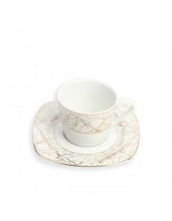 6'Lı Porselen Mermer Desenli Yaldızlı Kahve Takımı