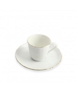 6'Lı Porselen Yaldızlı Kahve Takımı