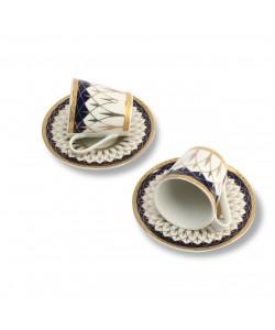 İkili Porselen Desenli Kahve Fincanı