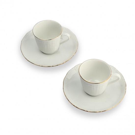İkili Porselen Yaldızlı Sade Kahve Fincanı