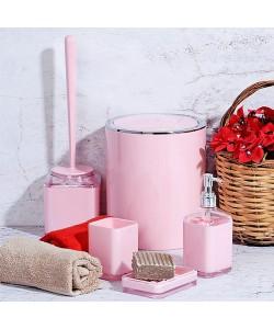 EWs 5 Parça Pembe Renk Kare Banyo Seti