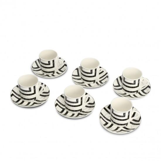 EWs Porselen Siyah Desenli Kahve Fincanı