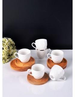 Bambu Tabaklı 6'Lı Porselen Kahve Fincanı