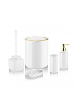 EWs Beyaz Gold Luna Kovalı Banyo Seti